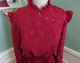 Vintage Burgundy Satin Cocktail Dress. 70's Vintage. Secretary Dress. Leaves