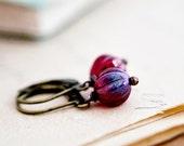 Cranberry Earrings, Glass Earrings, Drop Earrings, Czech Glass, Brass Earrings, Dangle Earrings, Red Glass, Christmas Gift, Stocking Stuffer