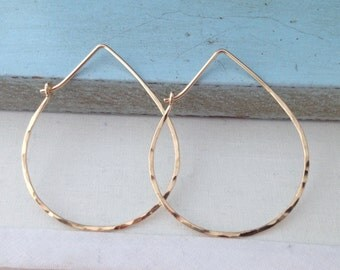 Gold Teardrop Hammered Hoops - Large H01GF-L Minimalist, Textured, Modern - handmade wire jewelry by cristysjewelry on etsy