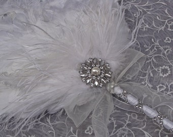 White Ostrich Feather Bridal Fan with Exquisite Details - Custom Created for YOU