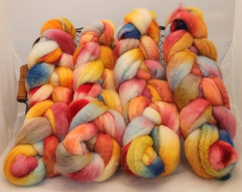 Roving, Wool, BFL Roving,Blue Faced Leicester Hand Painted Roving # 593