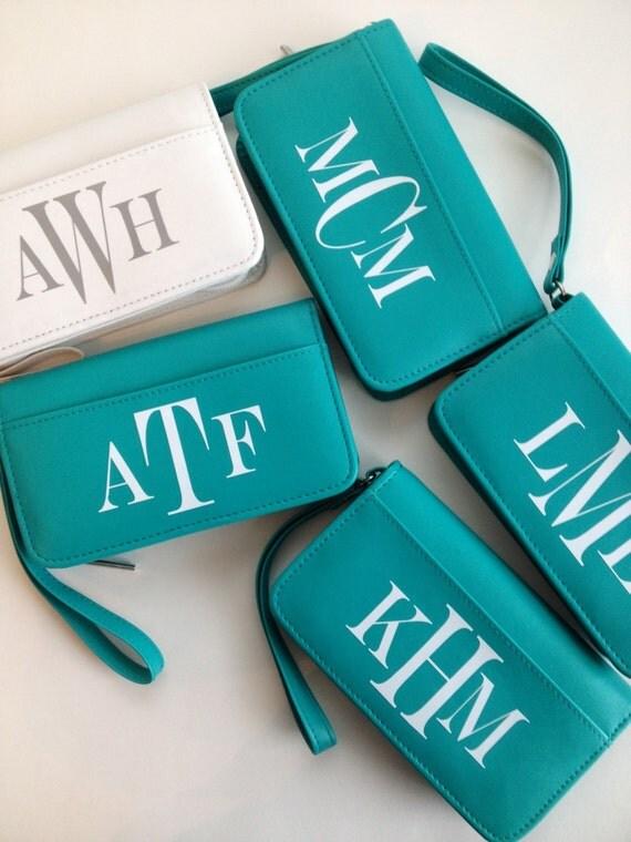 Personalized Bag - Wristlet Wallet - Clutch -Tiffany blue
