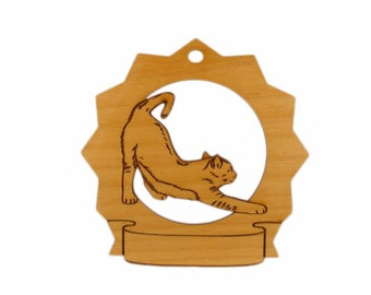 7129 Cat Stretching Personalized Wood Ornament
