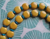 M and M GOLD Beaded 20 inch NECKLACE with TURQUOISE/Yellow Coin Necklace/Yellow and Turquoise Beaded Necklace