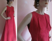 Vintage 1960s Hot Pink Sleeveless BREAKFAST AT TIFFANYS Hauliuetrigere French Maxi Dress