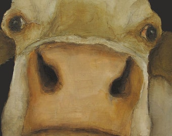 COW CLOSE Up -  Giclee print from my original oil painting -  Farm Folk Art