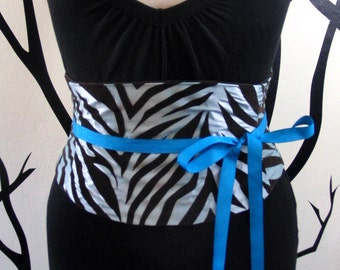 Corset Belt: Baby Blue and Brown Tiger Stripe Flocked Waist Cincher Any Size B