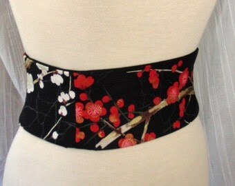 Cherry Blossom Obi Belt - Waist Cincher Corset Any Size Lace Up Black and Red