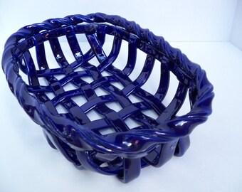 Woven Ceramic Basket in cobalt blue- fruit bowl-bread warmer or baker -home decor