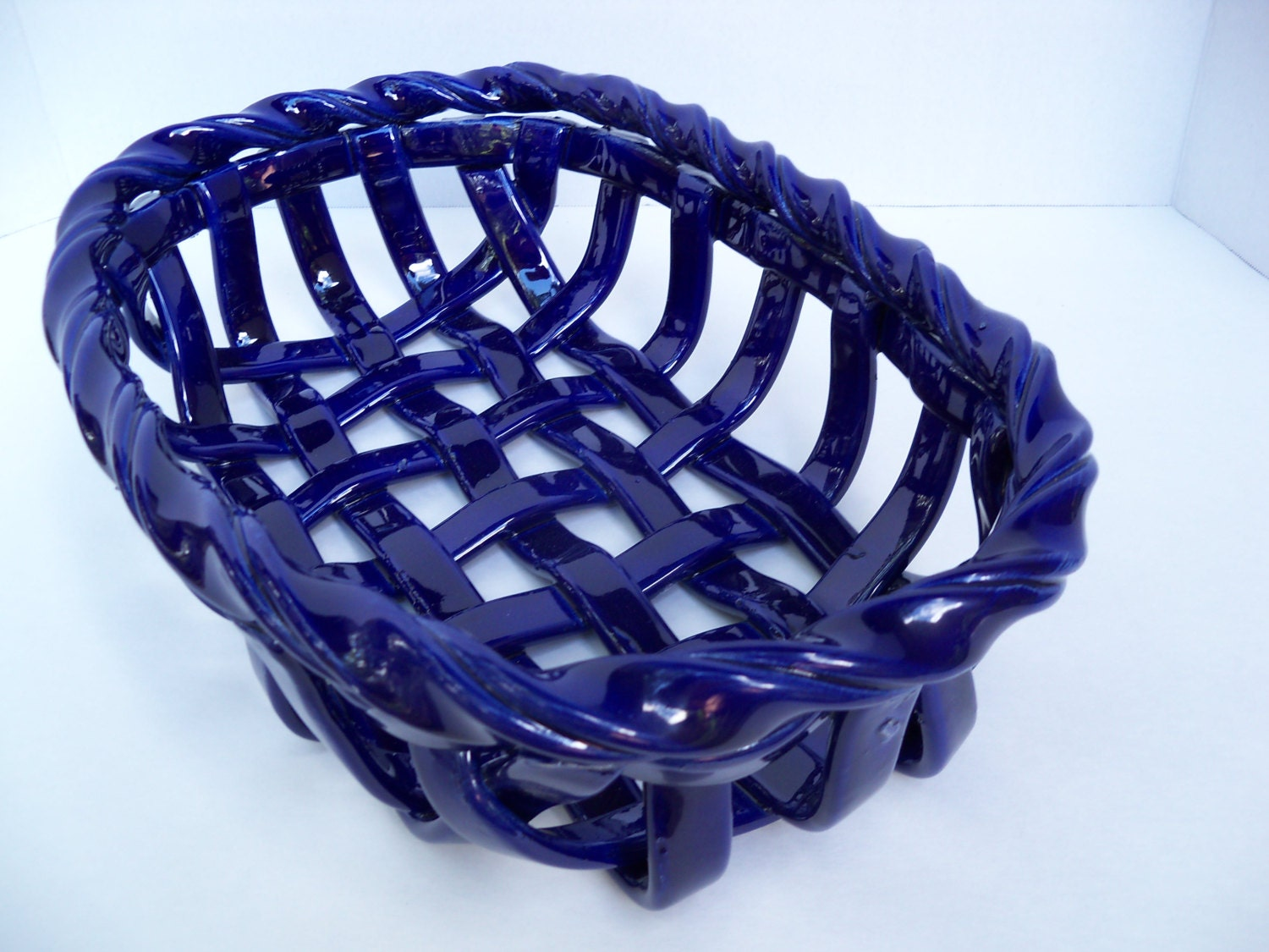 Woven Ceramic Basket In Cobalt Blue Fruit Bowl Bread Warmer
