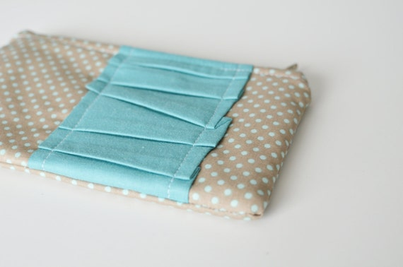 SALE**  Blue & Brown Dot - Small Ruffle Zipper Pouch (great for make up and purse organization)