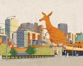Kangaroozilla card - giant kangaroo - godzilla in the city greeting card, blank