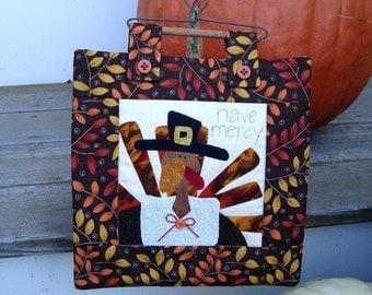 Pilgrim Turkey Thanksgiving Mini Quilt Decoration on Heart Wire Hanger Autumn Decorations