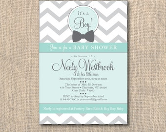 Baby Shower, Chevron Baby Shower Invitation,  Little Man Baby Shower Invitation, 5x7, PRINTABLE