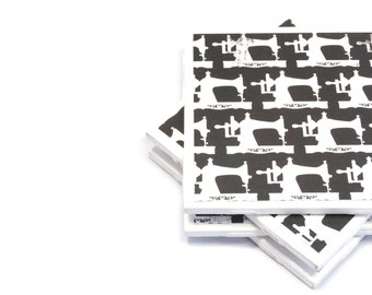 Coasters - Sewing Machines - Black and White - Set of 4 Tile Coasters