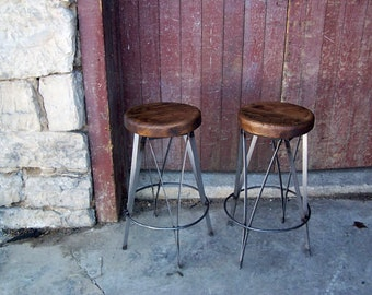 Reclaimed Oak Live Edge Bar Stools By Barnwoodfurniture On