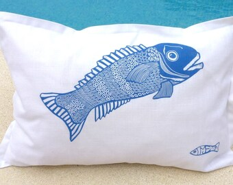 decorative art cushions/decorative pillow/scatter cushion/accent cushion pillow/sofa cushion/linocut/fish/blue and white/seaside/fishing/him