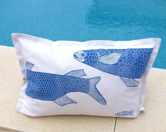 decorative art cushions/decorative pillow/scatter cushion/accent cushion pillow/sofa cushion/linocut/fish/blue and white/beach house/fishing