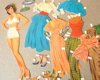 AVA GARDNER Cut Out Paper Doll Set with Costumes . movie star. fashion doll