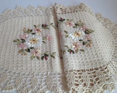 """20% off Ribbon Embroidery Crochet lace Table runner Center piece Placemat COTTAGE CHIC 36"""" Oblong"""