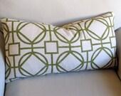 Ikat SURI KIWI GREEN decorative designer bolster pillow 13x26 with insert