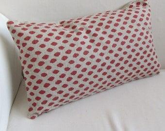 CORAL DOT  lumbar decorative designer Pillow 12x18 12x20 12x22 12x24 12x26 insert included