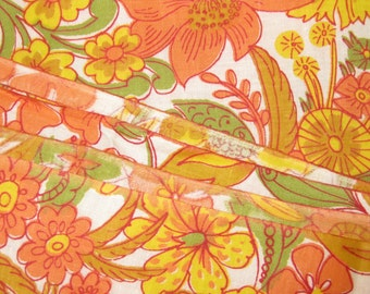 Vintage Cotton Fabric - Floral Print - Peach, Yellow Green Print Vintage Cotton