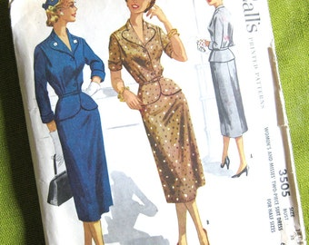 1950s Vintage Sewing Pattern - Two Piece Suit - Slim Skirt - Rockabilly Style - McCall's 3505 / Size 14.5