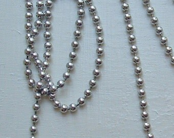 """Aluminum chain ballchain 24"""" silver nickel-free lead-free made in USA with connector"""
