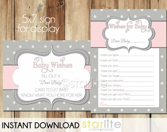 Printable Baby wishes | Printable baby shower game | dear baby cards | Instant Download |Wishes for Baby | Pink Gray Polka Dots