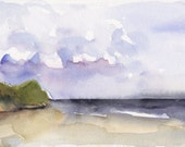 Art Watercolor Painting Cape Cod Beach Dune Seaside Ocean PRINT