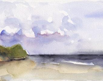 Art Watercolor Painting Cape Cod Beach Dune Seaside Ocean PRINT