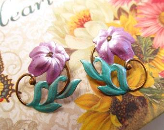 Lilly Earrings Art Nouveau Pierced earrings Whimsical flower earrings