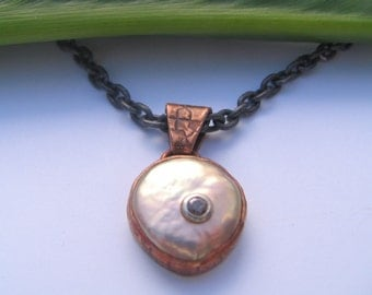 Champagne Diamond, Pearl Pendant, in copper and sterling silver. Original design by Marc Gounard of Sausalito, CA.
