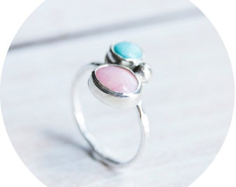 Pink Opal and Aqua Blue Aventurine Ring, Sterling Silver, hammered band, for her, birthday gift, US size 8