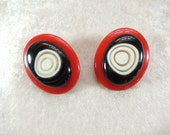 Beautiful Vintage Lucite Red, Black and White Abstract Design Clip-on Earrings