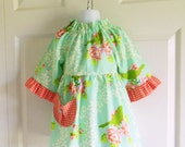 Girls Betsy Dress - 6 mos to size 12 - Mockingbird Turquoise - Up Parasol Collection