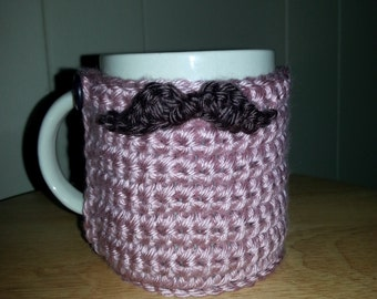 crocheted mustache cozy cup cozy mug cozy in blush pink rose with chocolate brown mustache