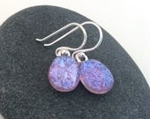 Fused Glass Earrings - Icy Lavendar Purple - Icy Lilac Purple Earrings - Periwinkle Purple Glass Earrings - Ready to Ship