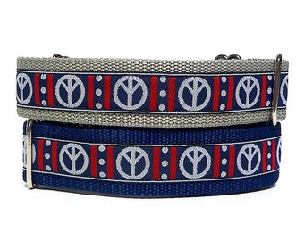"""17-24"""" Martingale Dog Collar 1.5"""" wide PEACE SIGN Silver Grey and Navy, Safety Collar, Greyhound Collar, Sighthound Collar, Adjustable"""
