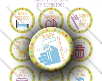 Printable Chore Chart Behavior Reward DIY magnets Boys and Girls Bottle Cap Images 1 Inch Circles Collage 4 x 6 - Instant Download - BC323