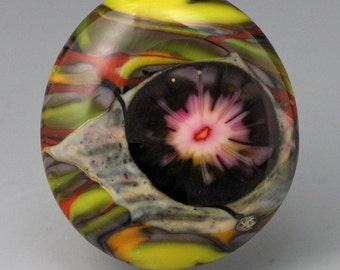 Sun Flare ... glass CABOCHON handmade organic lampwork jewelry designer cabs SRA by GrowingEdgeGlass/ Mikelene Reusse