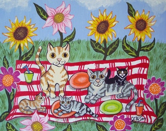 """Kitties and Cats """"Summer Picnic"""" in the flowers Fun Whimsical Folk Art Print Multiple Sizes Available Artist Julie Ellison"""