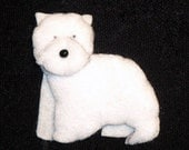 WESTIE Felt Dog Shape for Bead Embroidery, Crafting, Making Beaded Animals, or Embellishment: West Highland White Terrier - Free US Shipping