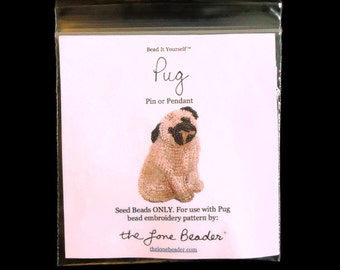 15/0 SEED BEADS ONLY for Pug pin pendant beaded animal beading pattern