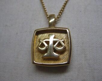 Libra Gold Necklace Vintage Pendant
