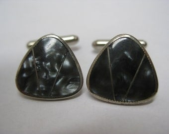 Gun Metal Gray Silver Cuff Links Vintage