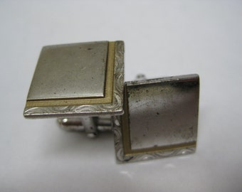 Sterling Silver Gold Square Cuff Links Vintage Anson 925
