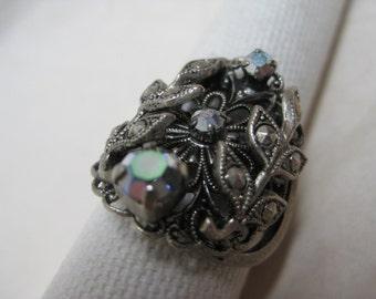Aurora Flower Marcasite Silver Ring Adjustable Filigree Rhinestone Vintage