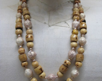 Wood Tan Gold Bead Two Strand Necklace Vintage Japan